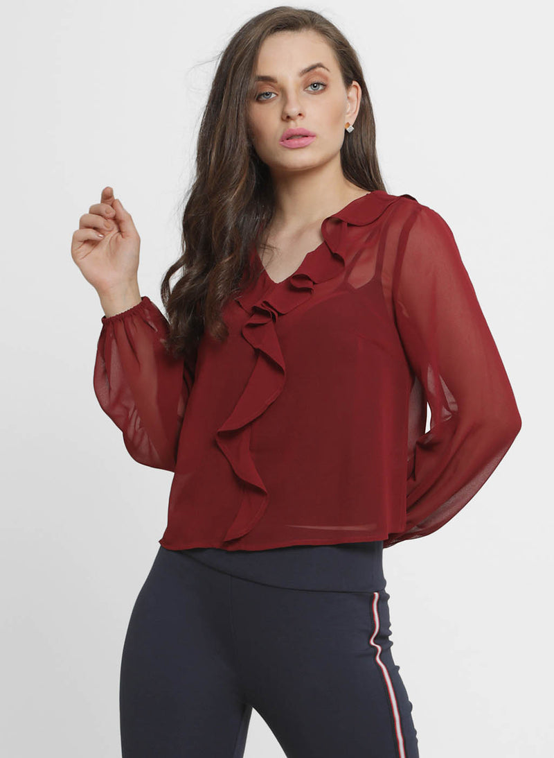 Cher Ruffled Neck Full Sleeve Top (Additional 20% OFF)
