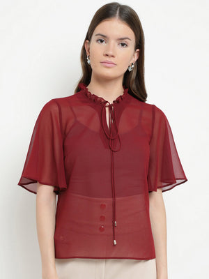 Moselle Ruffle Neck Wing Sleeve Top (Buy 2 Get Extra 30% Off)