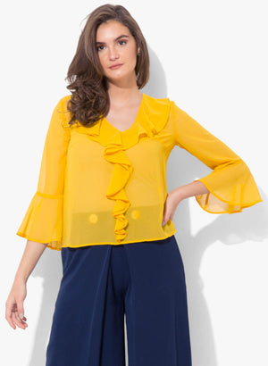 Dianna Front Ruffle Full Sleeve Top (Buy 2 or more Get 20% Off)