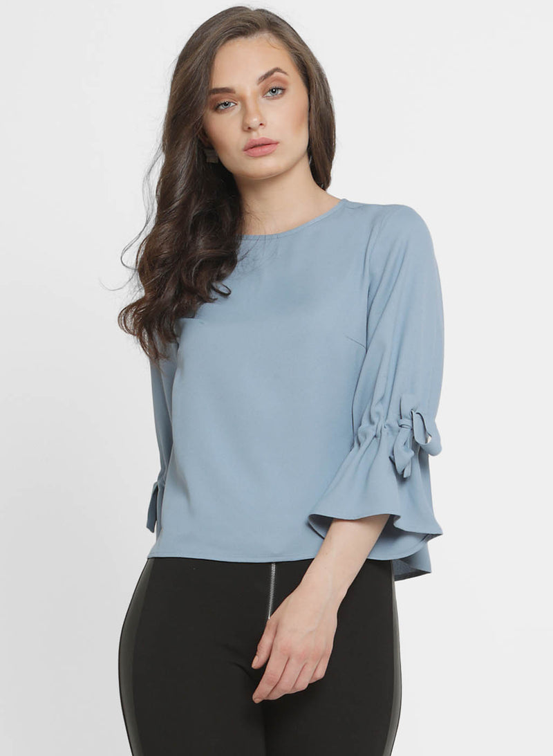 Claire Round Neck Tieup Sleeve Top