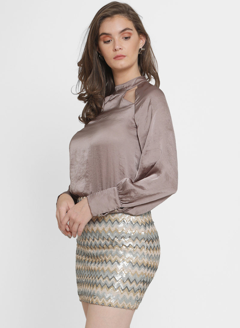 Giselle Hammered Satin Cutout Top (Additional 20% OFF)