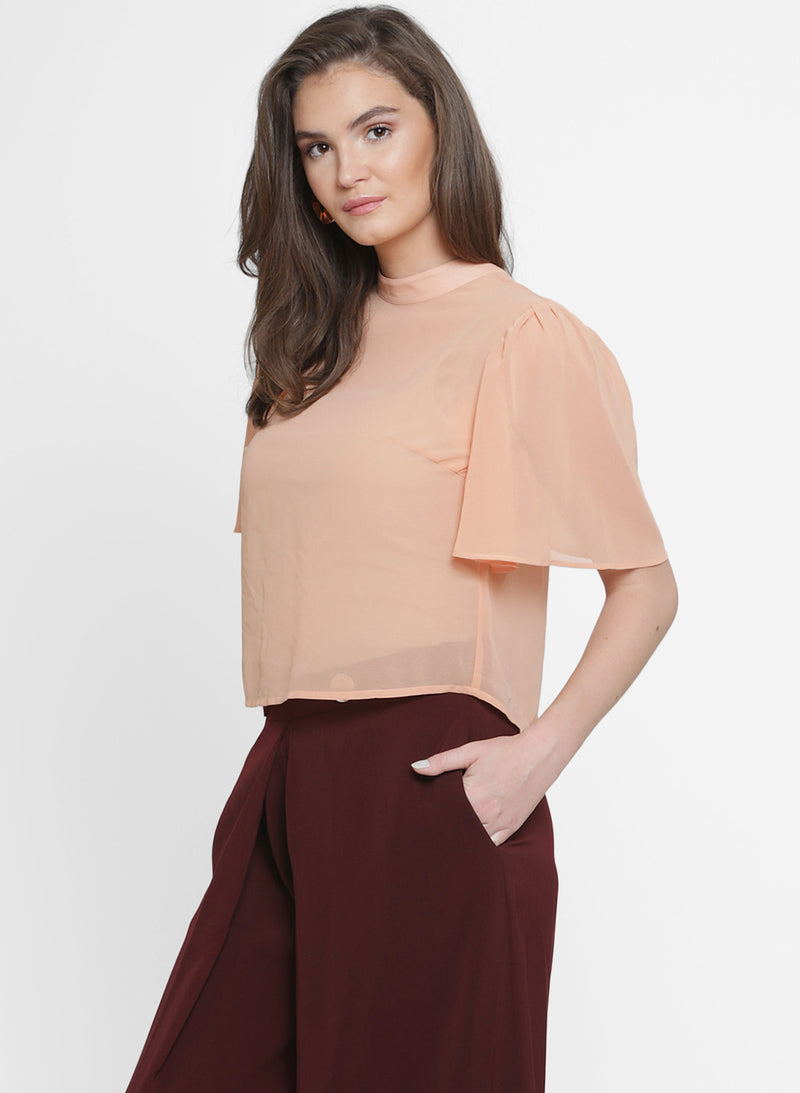 Garnet Back Overlay Wing Sleeve Top