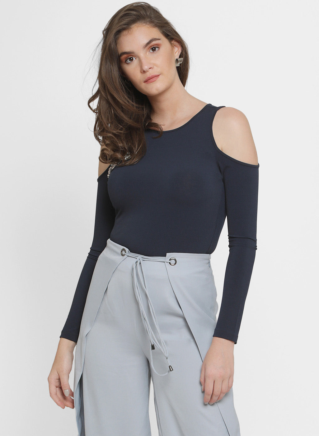 Dianna Cold Shoulder Embellished Top