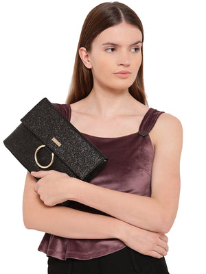 KAZO BLACK EMBELLISHED CLUTCH (Buy 2 Get Extra 30% Off)