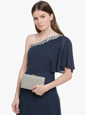 KAZO GREY EMBELLISHED CLUTCH (Buy 2 Get Extra 30% Off)