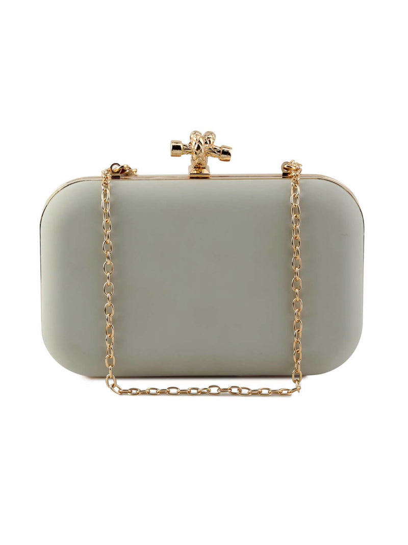 Flora Light Grey Pu Clutch