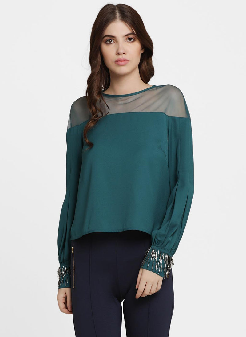Evelyne Mesh Insert Embellished Top (Additional 20% OFF)