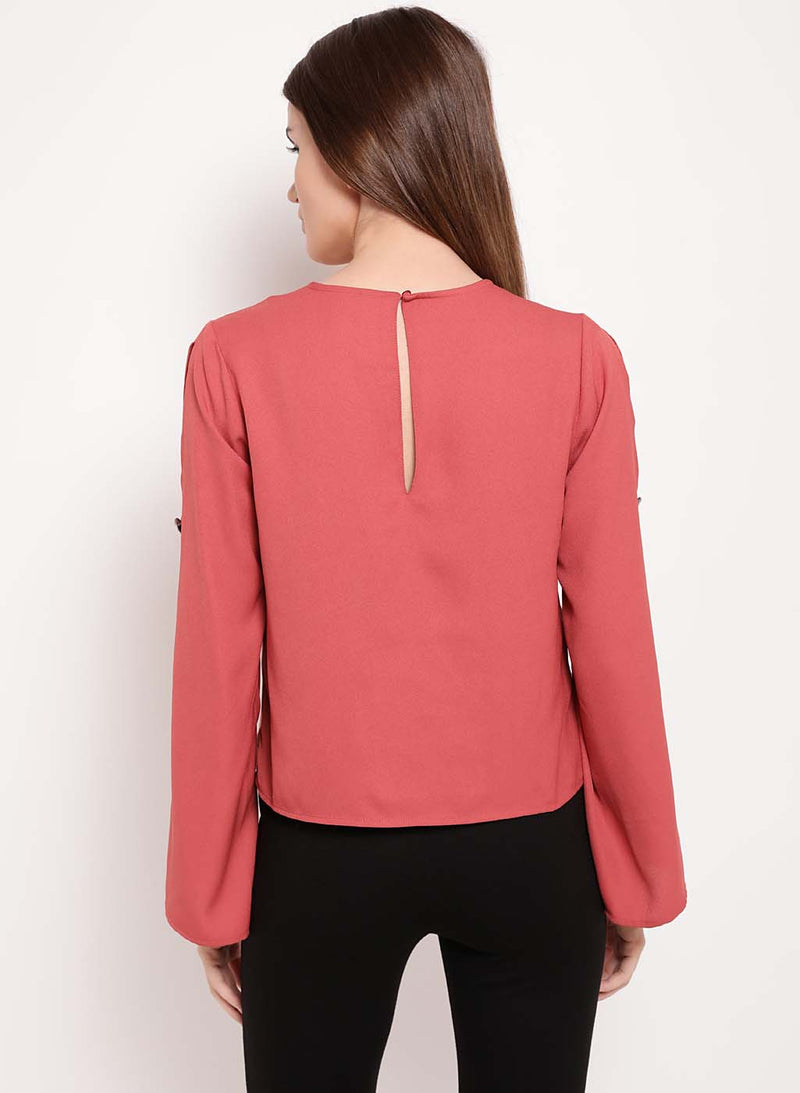 Melanie Round Neck Slit Sleeve Top