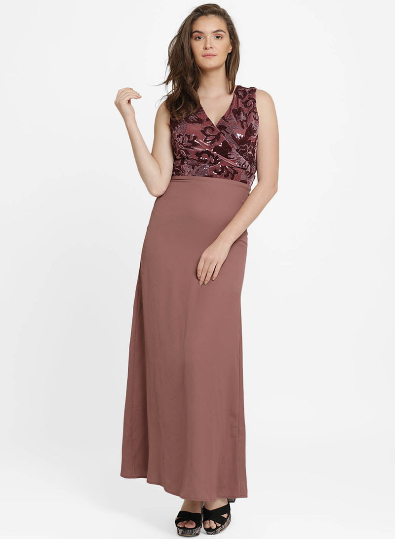 Caroline Velvet Sequin One Shoulder Maxi