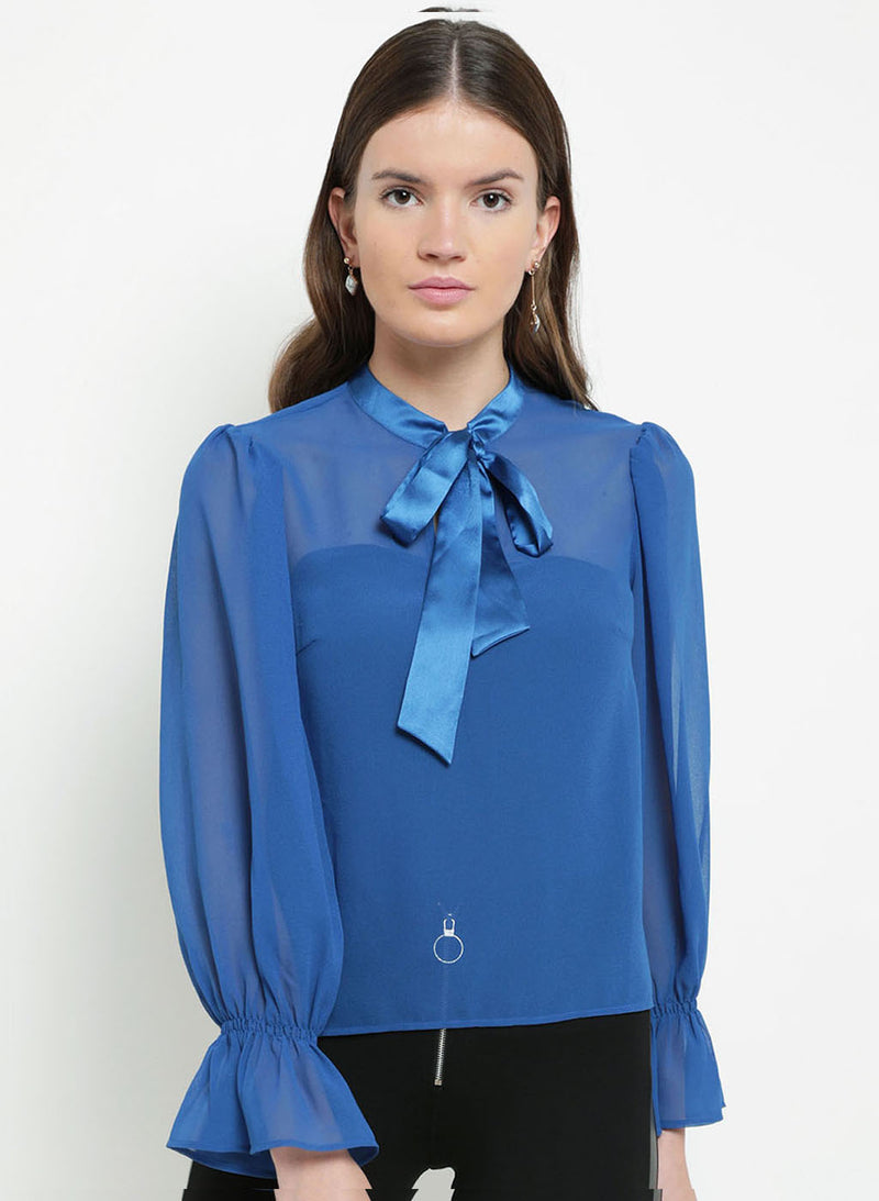 Melanie Pussy Bow Full Sleeve Top(Additional 20% on 2)