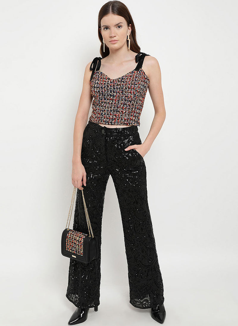 Borderland Strap Tie-Up Tweed Top (Additional 20% OFF)