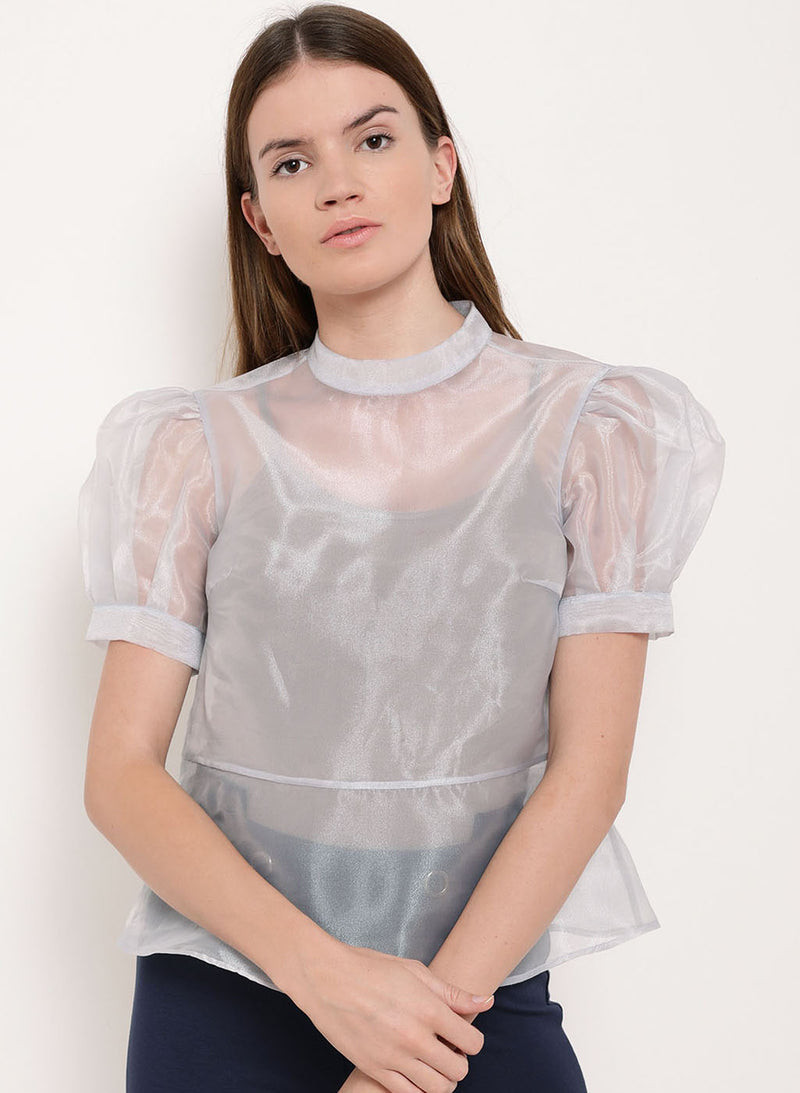 Fair Maiden Puffed Sleeves Organza Top