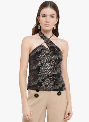 Amour Betina Halter Neck Sequin Top(Additional 20% on 2)
