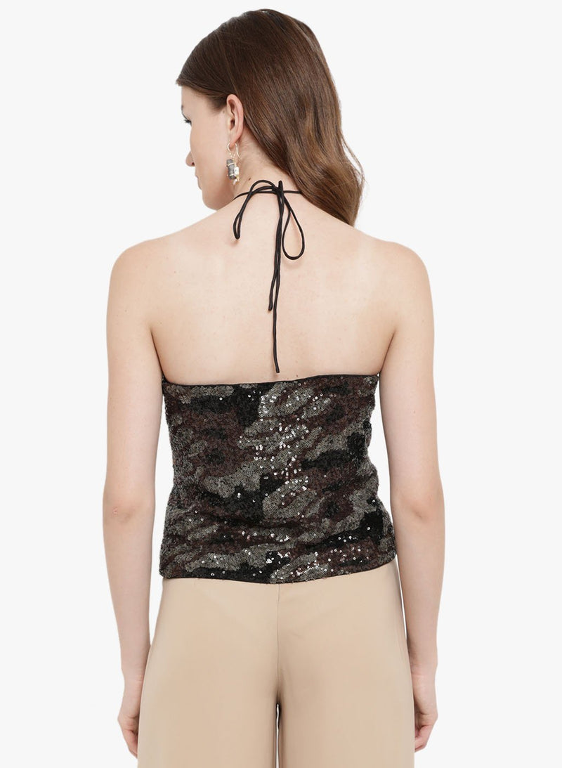 Amour Betina Halter Neck Sequin Top
