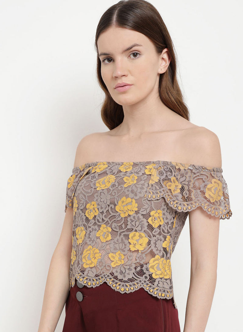 Mellow Musings Off-Shoulder Lace Top (Additional 20% OFF)