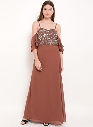 Penelope Cold Shoulder Embellished Maxi Dress