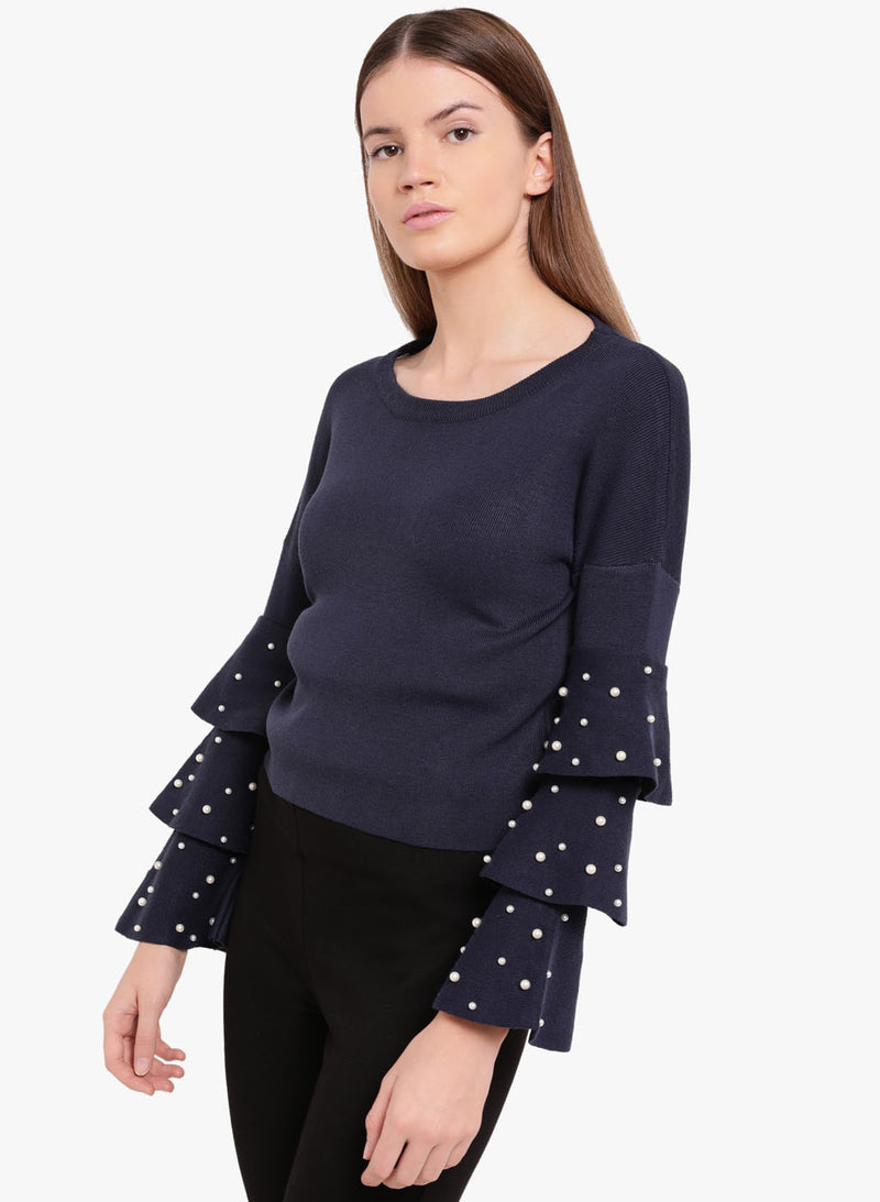 Fair Maiden Pearl Detail Sweater (Buy 2 Get Extra 30% Off)