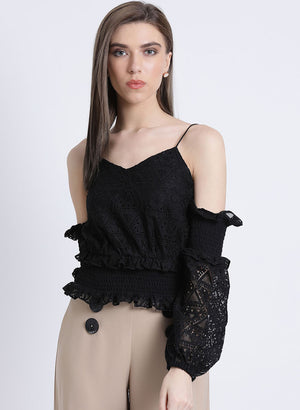 Dream Noir Cold Shoulder Smocking Top