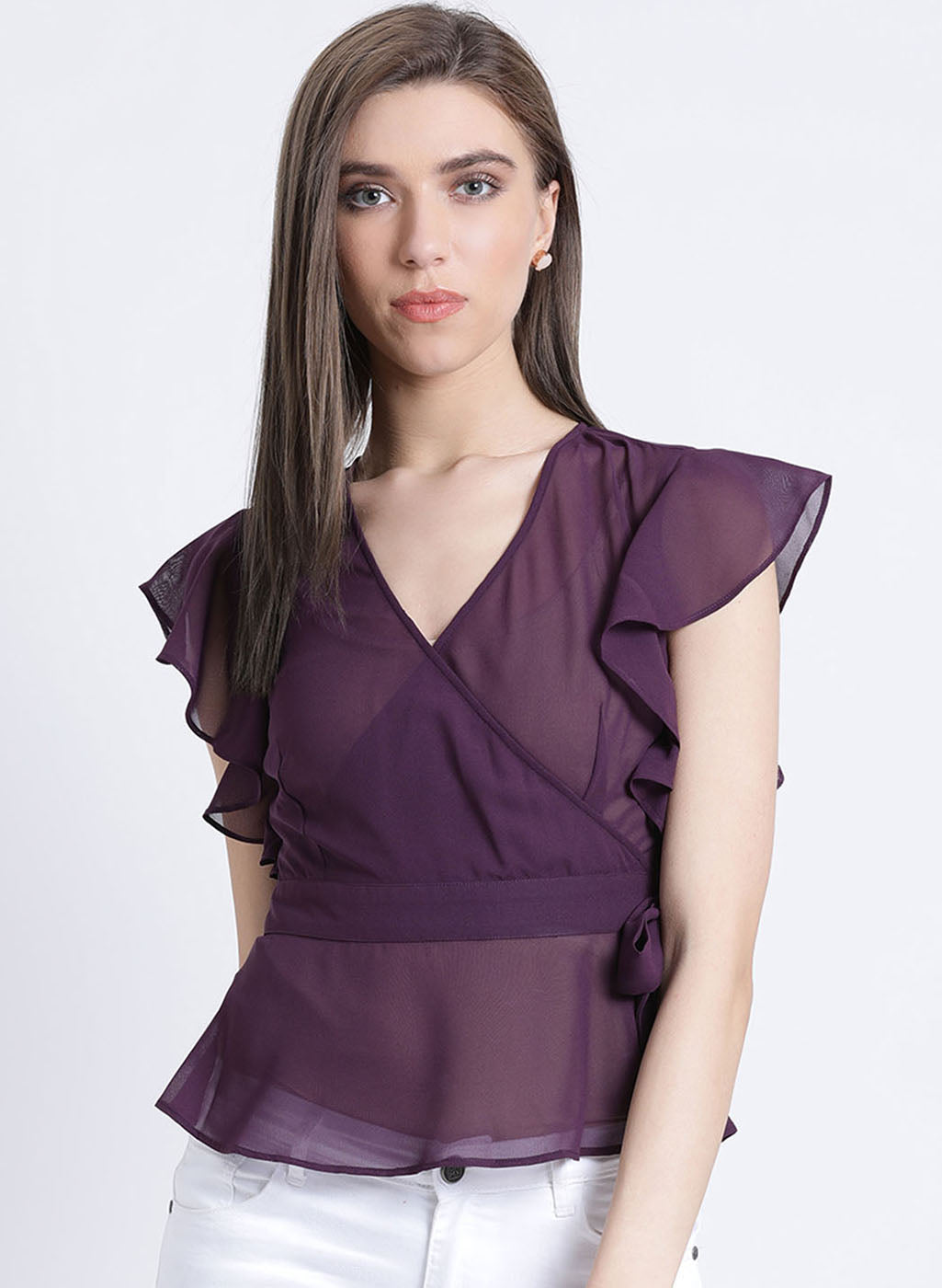 Dream Noir Wrap & Sleeve Ruffle Top (Buy 2 Get Extra 30% Off)