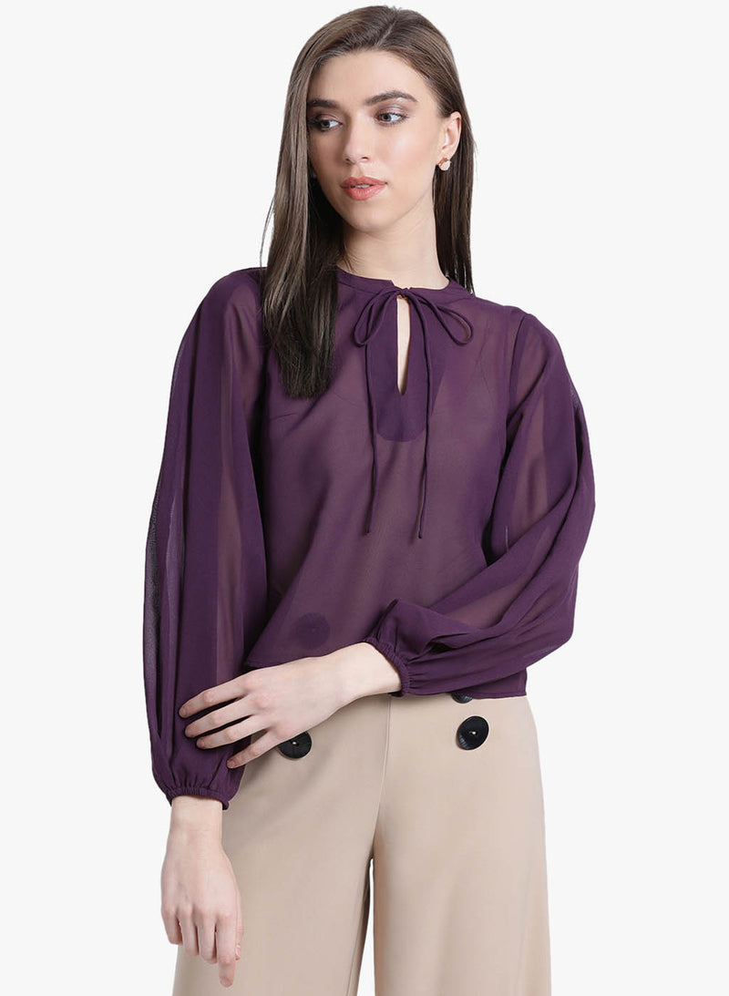 Dream Noir Neck Tie-Up Top