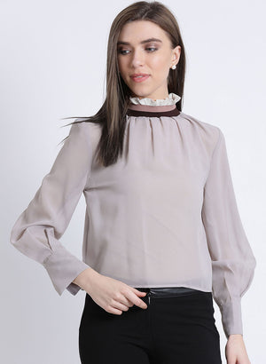 Future Femme High Neck Rib Top