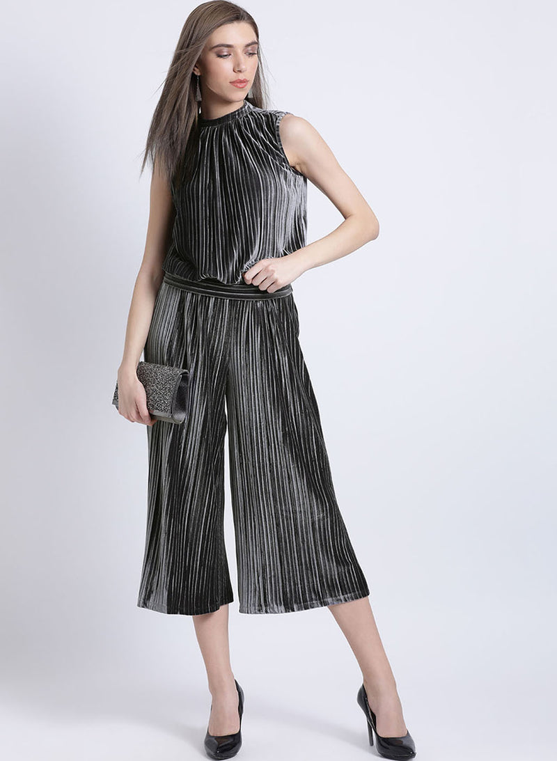 Melanie Pleated Velour Cullottes