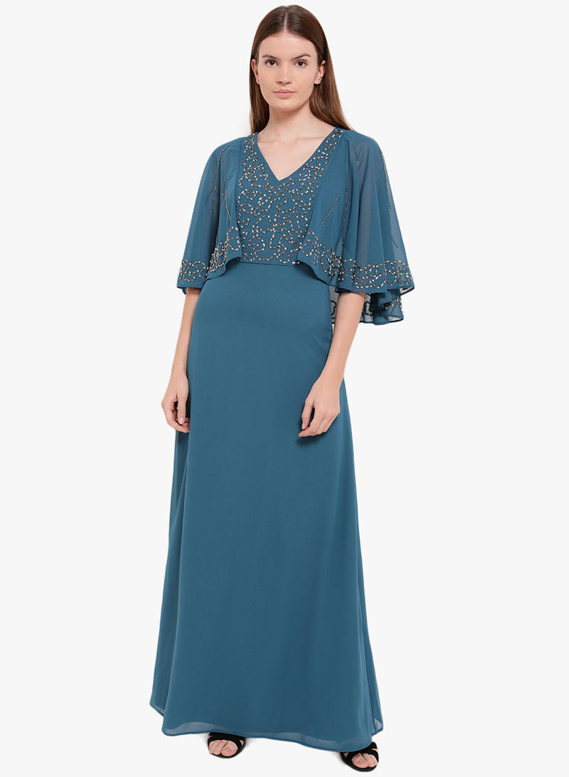 Camila Cape Sleeves Embellished Maxi Dress