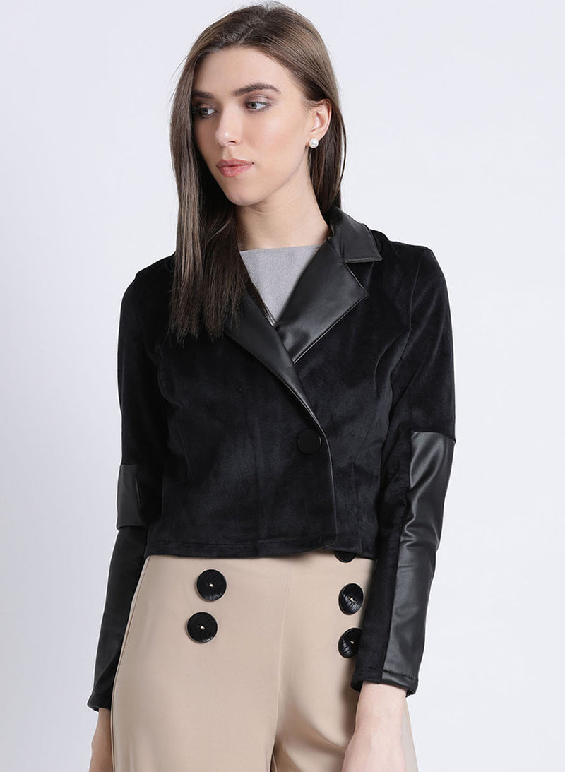 Dream Noir Pu Collared Jacket (Buy 2 Get Extra 30% Off)
