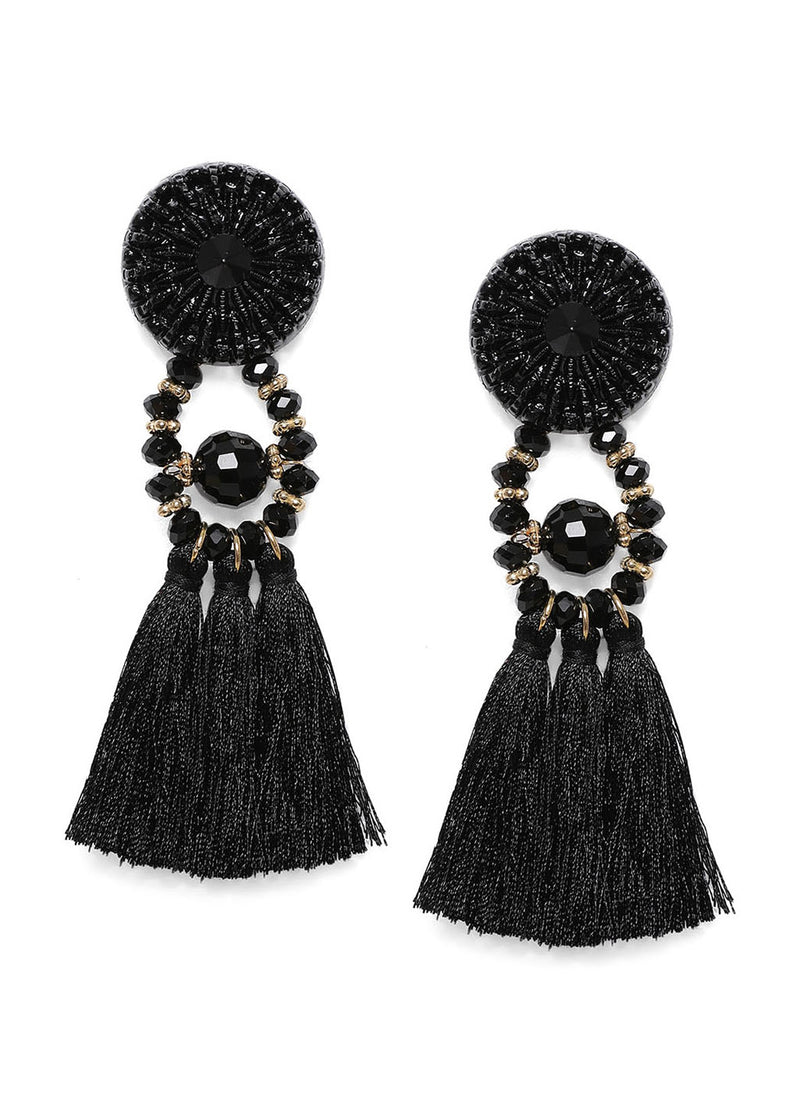 Black Tasselled Drop Earrings