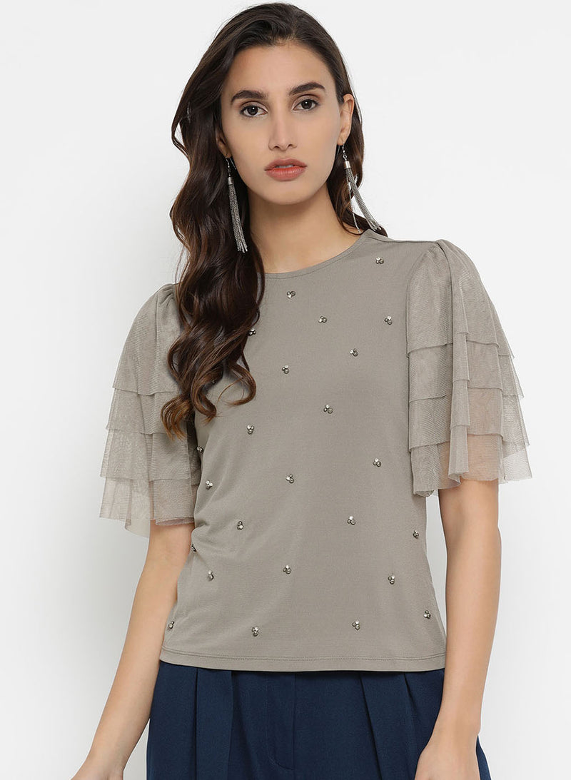 Mesh Embellished Top (Additional 20% OFF)