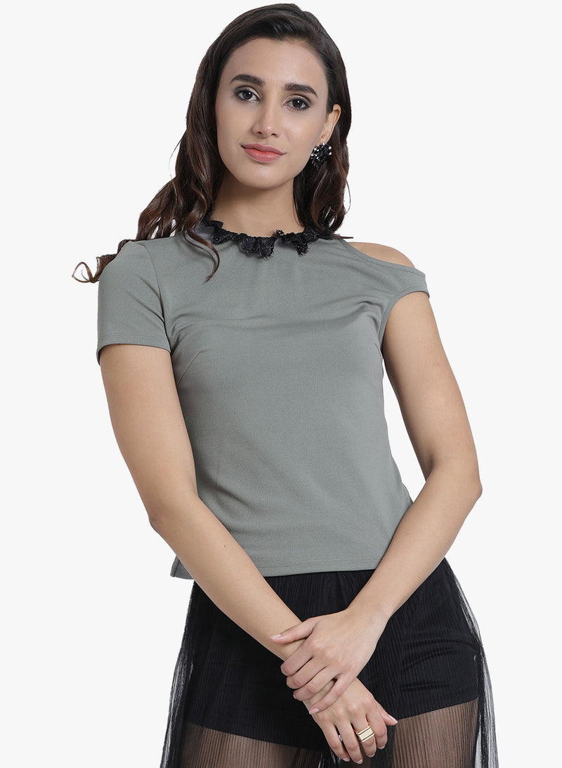 Lace Detail One Sleeve Top (Additional 20% OFF)
