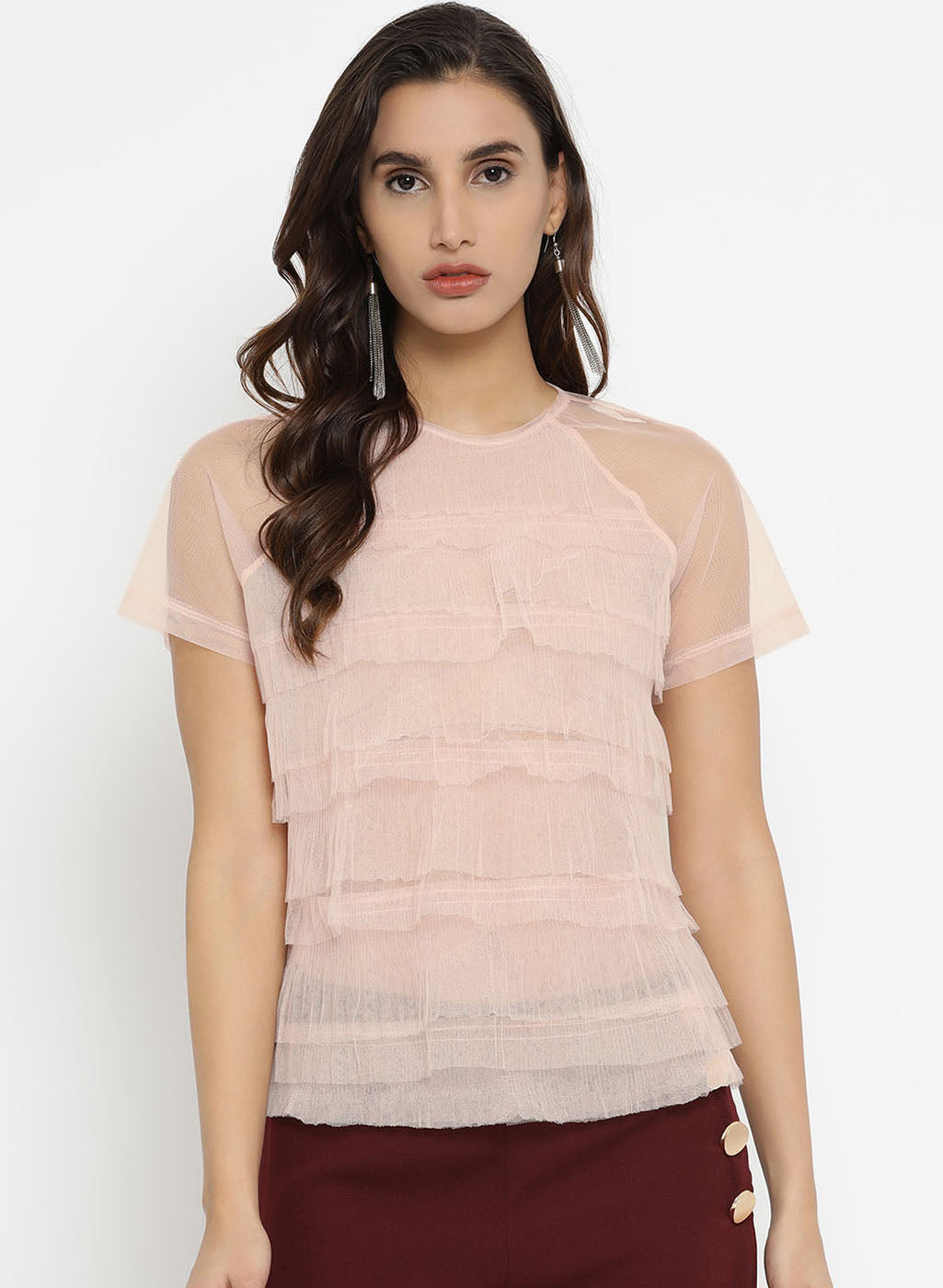 Pleated Mesh T Shirt