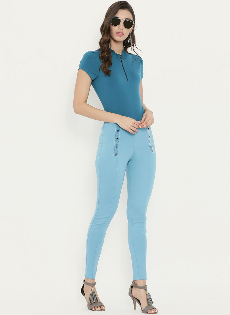High Waist Studded Tape Towards The Front Jeggings