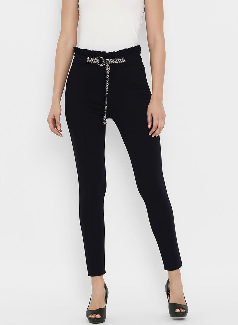 Jeggings With Ruffle At Waist And Belt