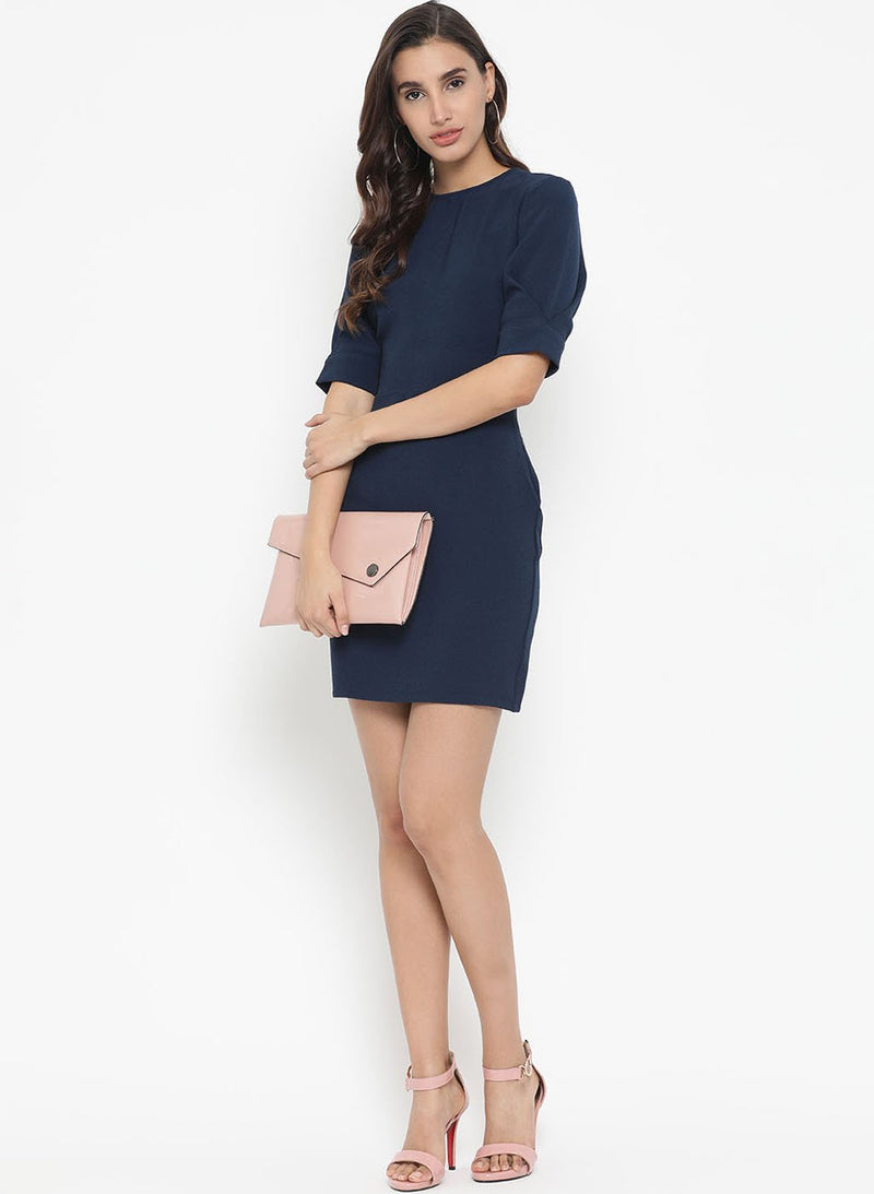 Back Cut Out Mini Dress With Elbow Sleeves (Additional 20% OFF)