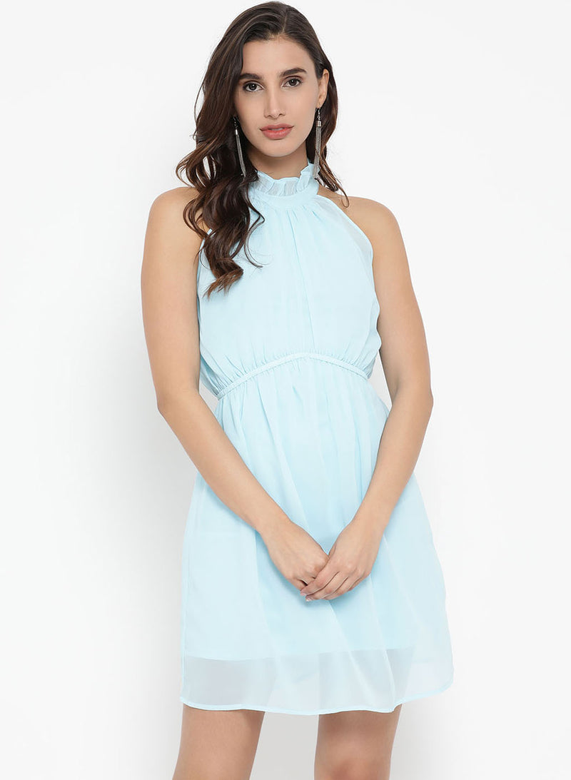 Sleeveless Dress Ruffled Neck