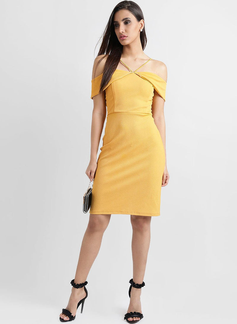 Shoulder Strap Overlay Midi Dress