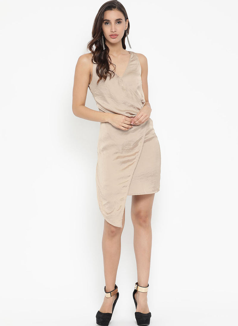Belt Detail Pleated Mini Dress