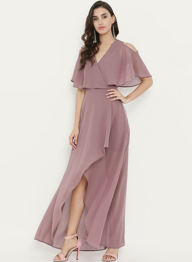 Cold Shoulder Cape Asymmetric Dress(Additional 20% on 2)