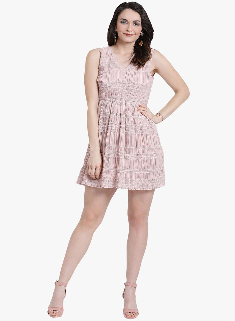 Clear Button Mesh Shoulder V Neck Dress