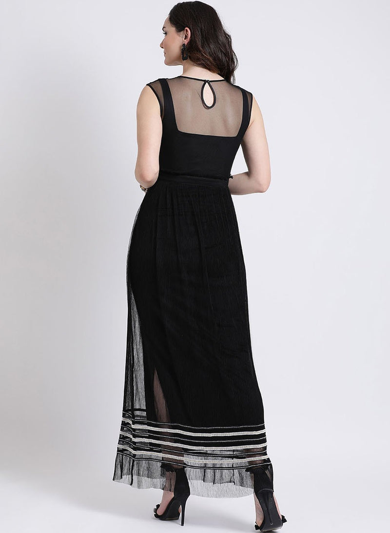 Pleated Mesh Maxi Dress (Additional 20% OFF)