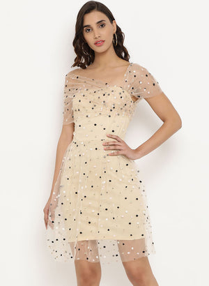 Mesh Off Shoulder Dress(Additional 20% on 2)