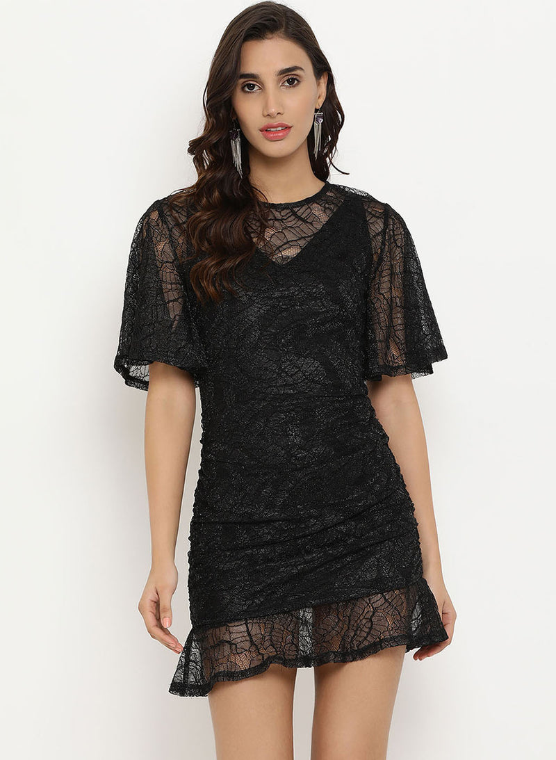 Lace Mini Dress With Drawstring (Additional 20% OFF)