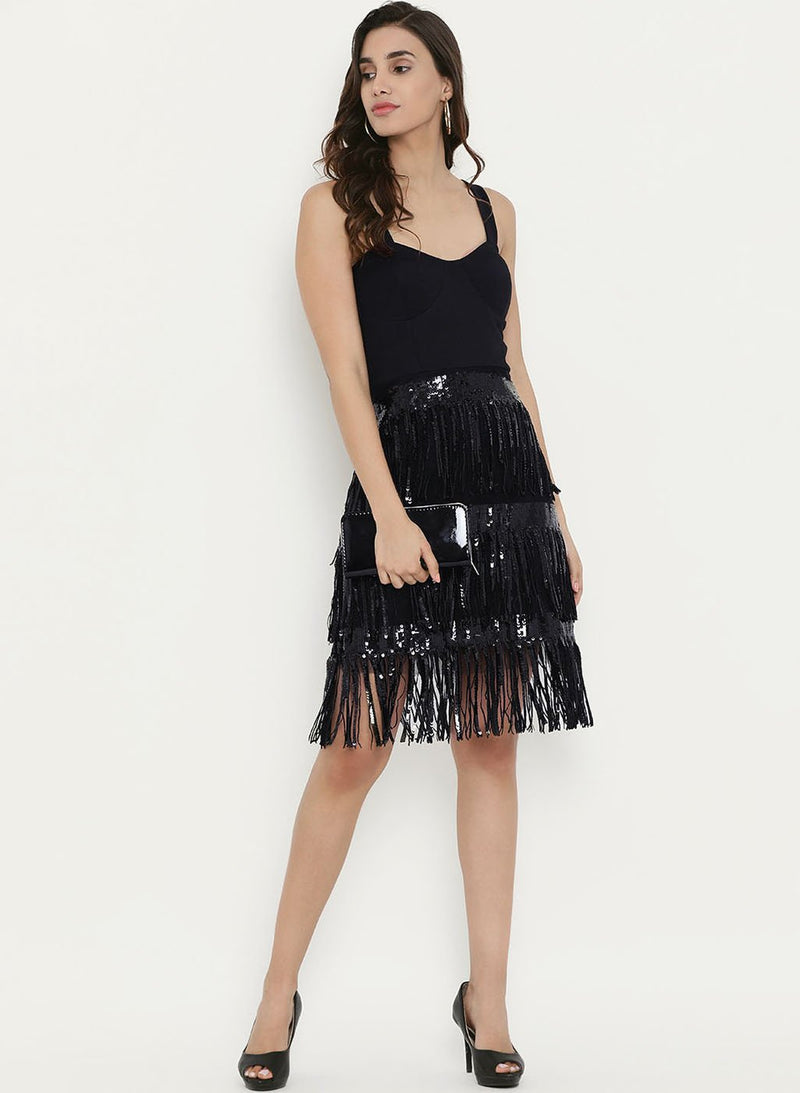 Sleeveless Dress With Sequins Fringes