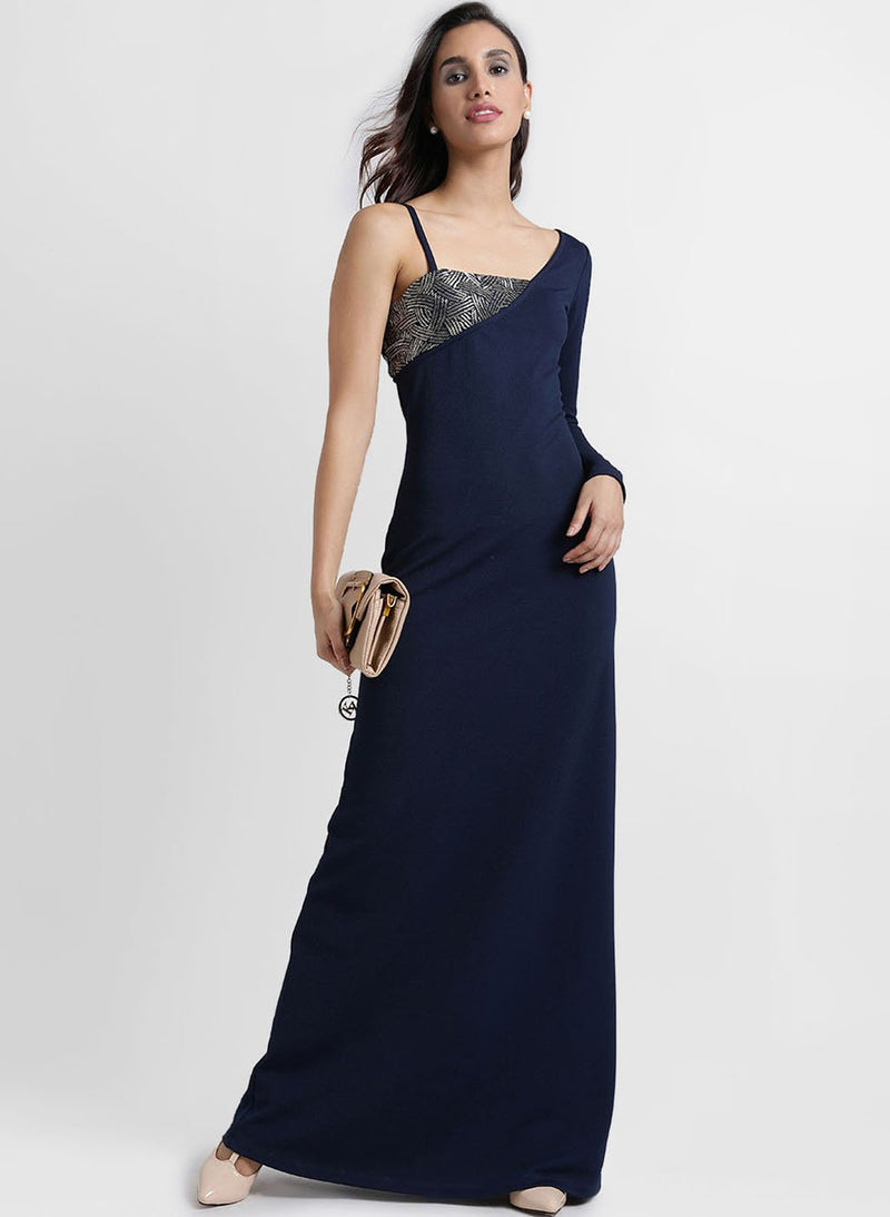 Embellished One Shoulder Maxi Dress
