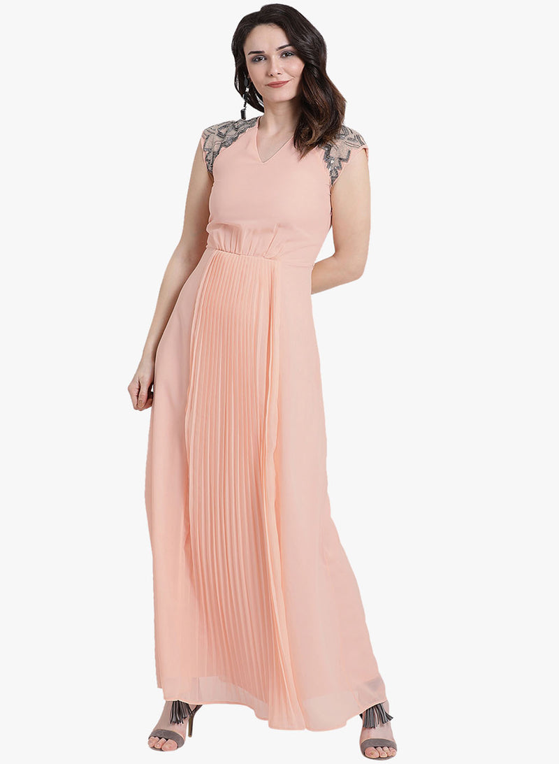 Sleeve Embellished Pleated Maxi Dress