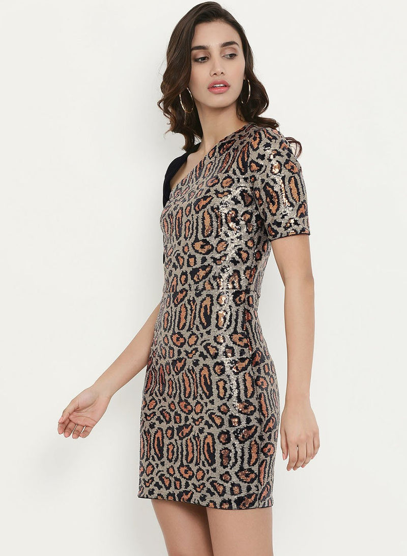 Full Leopard Sequins Dress