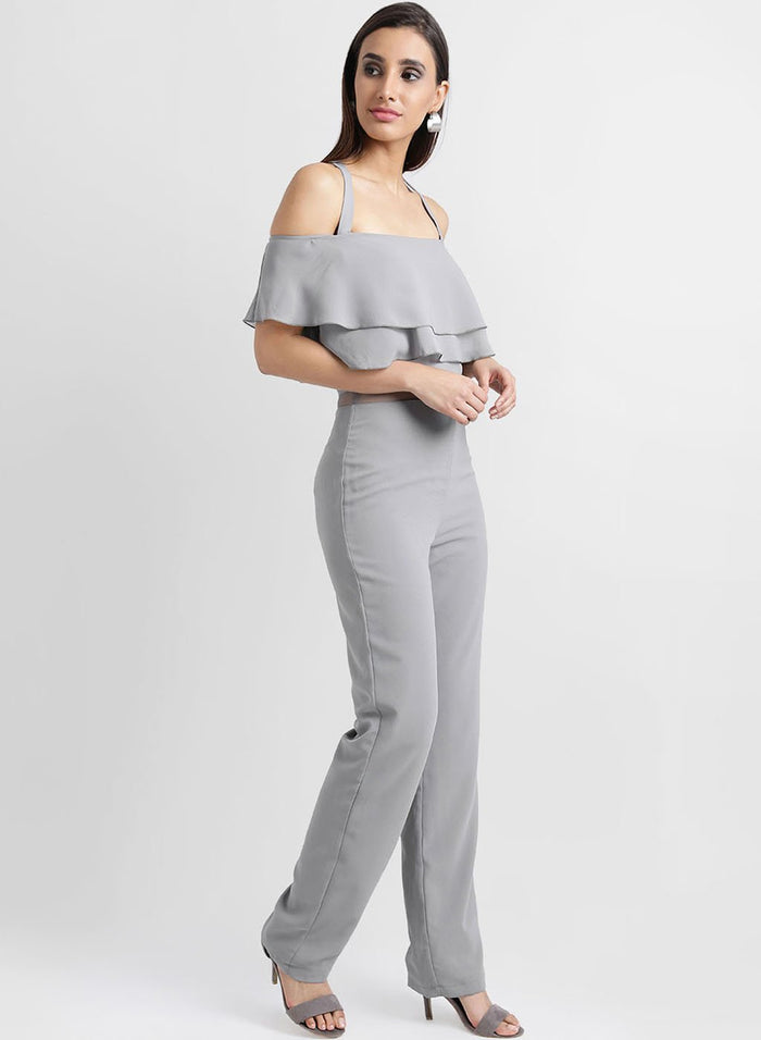 Shoulder Strap Jumpsuit Wisth Mesh Insert On The Waist