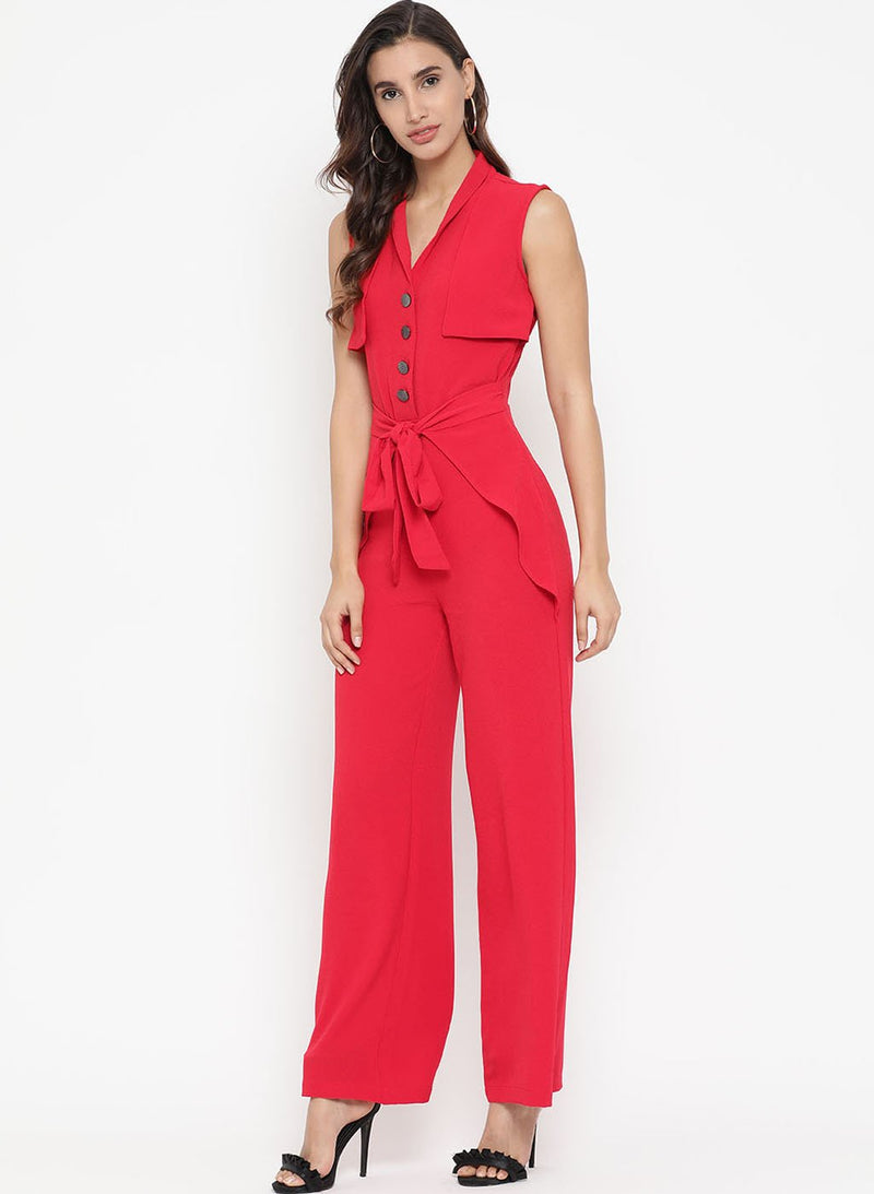 Jumpsuit With Front Tie-Up And Buttons