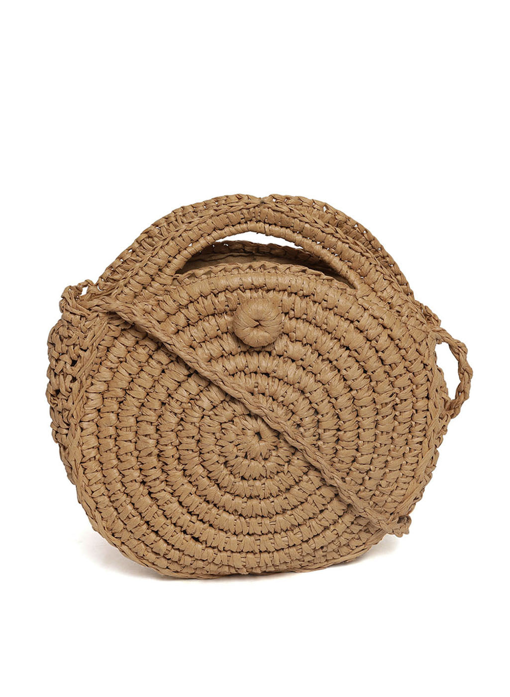 Round Jute Beige Color Sling Bag